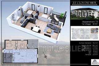 Appartement 3 pièces  à vendre Montélimar 26200